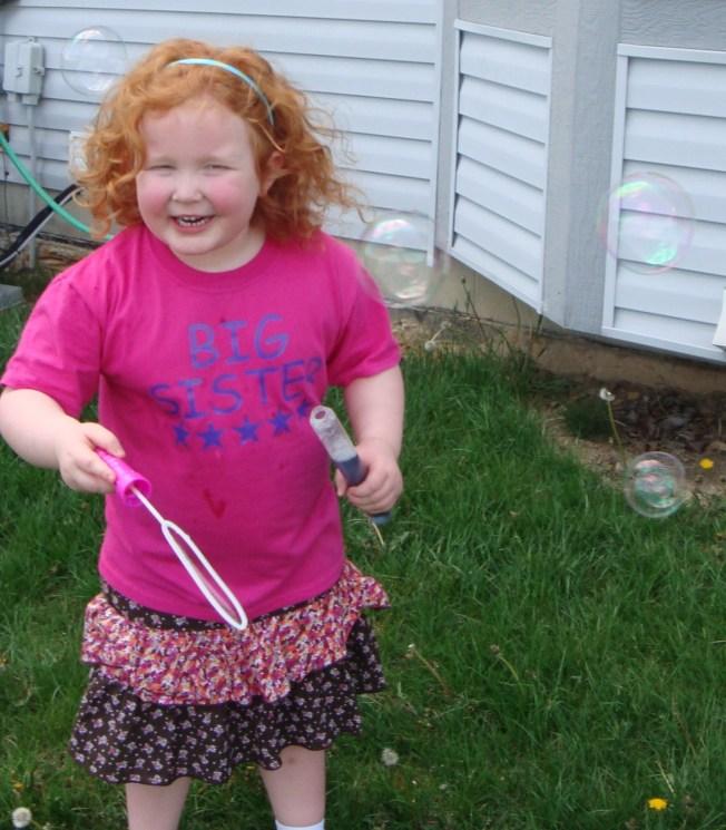 Bubble makes her laugh....